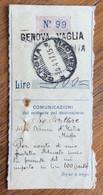 LIGURIA - GENOVA VAGLIA Lineare + GENOVA * FERROVIA * 30/4/17  Annulli Su Ricevuta Cartolina Vaglia - Marcophilie