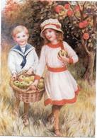 Couple D' Enfants Et Panier De Pommes  (120936) - 1900-1949