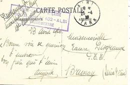 81-cachet Hôpital Aux. N°102 à Albi Sur CP En 1916 - 1. Weltkrieg 1914-1918