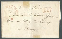 LAC De LA ROCQ Le 26 Janvier 1838 + Càd RougeNIVELLESle 27 Janvier Et Griffe P.P. Vers Le Collège De Chimay. Port '11 - 1830-1849 (Unabhängiges Belgien)