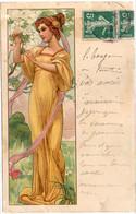 Femme Art Nouveau - Cueillette De Fleurs  (120944) - 1900-1949