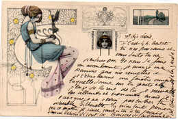 Femme Art Nouveau - Genre Kirchner    (120946) - Ante 1900