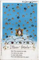 Femme Art Nouveau - Mon Etoile - Pailletée    (120947) - Ante 1900