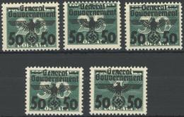 GENERALGOUVERNEMENT 35-39 **, 1940, Portomarken, 5 Postfrische Prachtwerte, Mi. 79.50 - Ocupación 1938 – 45