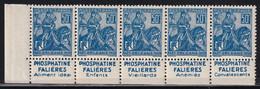 Publicité - YT 257a Jeanne D'Arc  Type I 50c Bleu - Bande De 5  (Maury : BP 148a) Neuf** - Werbung
