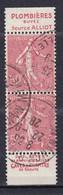 Publicité - YT 199e Semeuse 50c Rouge Type IIB - Paire Verticale Plombières + Jaffelin (Maury : BP 100b) Oblitéré - Werbung