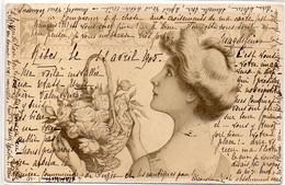 Femme Art Nouveau - Panier De Fleurs     (120948) - Ante 1900