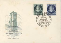 Sonderbriefmarken Berlin 1 5 51 CAD Maikundgebung 1 5 51 Frieden In Freiheit Berlin NW40 YT 62 64 Freiheitsglocke Berlin - Covers & Documents