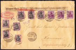 1920 Wertbrief (Inhalt 3500 Mark) 10 Germania Marken, Gestempelt Neustadt Nach Hannover Gelaufen. Gebrauchsspuren - Covers & Documents