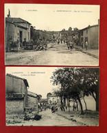 MILITARIA GUERRE 1914-18 2 CPA MONTZEVILLE En ARGONNE Près VERDUN 55 MEUSE PLACE DE L' ECOLE Et RUE DES TROIS-FONTAINES - Verdun