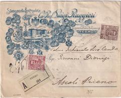 ITALIE LETTRE RECOMMAANDEE ILLUSTREE DE FERMO AVEC CACHET ARRIVEE ASCOLI - Storia Postale