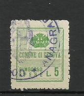 GENOVA 5 LIRE RIMBORSO SPESE ,MARCA DA BOLLO COMUNALE, REVENUE, MUNICIPAL STAMP, Rif.72 - Otros