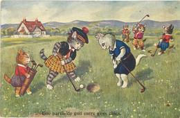 Chats Humanisés – Une Partie De Golf Entre Gens Chics   ( ILL ) - 1900-1949