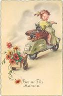 """"""" Bonne Fête Maman """" Fillette & Chien Fox Terrier Sur Scooter Style Lambretta  ( ILL ) - 1900-1949"""