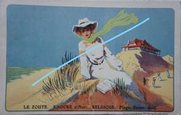 CPA KNOKKE Le Zoute Carte Ilustrée Publicité Dunes Duinen Kust - Knokke