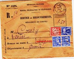 France , Lettre Taxée En 1945,  Mixte Banderole Et Gerbe  Et Mercure Oblitere  Manuel RR Et TB - 1859-1955 Storia Postale