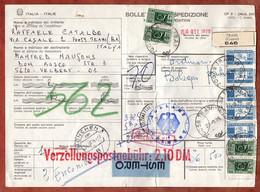 Paketkarte, Estero, Paketmarken, Trani Ueber Bolzano Muenchen Nach Velbert 1975 (3246) - 1971-80: Marcophilie