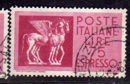 ITALIA REPUBBLICA ITALY REPUBLIC 1958 1966 ESPRESSI ESPRESSO SPECIAL DELIVERY CAVALLI ALATI LIRE 75 USATO USED OBLITERE' - Poste Exprèsse/pneumatique