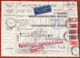 Paketkarte, Paketmarken, Guastalla Ueber Frankfurt Flughafen Nach Velbert 1975 (3247) - 1971-80: Marcophilie