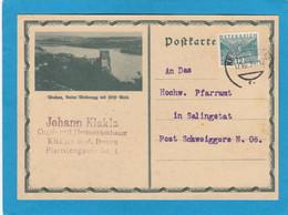 POSTKARTE VON EINEM ORGEL- UND HARMONIUMBAUER AUS KREMS AN EINEM PFARRAMT IN SALINGSTAT , POST SCHWEIGGERS. - Storia Postale