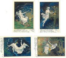 4 Cpa Illustrateur Allemagne, Nymphes - Les 4 éléments : Eau, Terre, Feu, Air ( Luft, Wasser,  Feuer, Erde )  ( ILL ) - 1900-1949