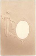 Cpa Destinée à Mettre Une Photo En Médaillon, Femme Période Art Nouveau ( Gaufrée )  ( ILL ) - Non Classificati