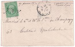 1870 - TIMBRE NAPOLÉON N° 20 SEUL Sur PETITE ENVELOPPE LETTRE De PARIS Pour PARIS CAD PLACE DE LA MADELEINE + ÉTOILE - 1862 Napoleon III
