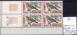 Luxembourg, Luxemburg 1970 Protection Des Oiseaux Bloc à 4:1,50F**MNH Variété Rare 8 Barres VC:30€ - Ongebruikt