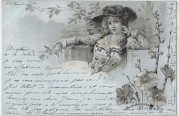 2 CPA - Style Mucha Kirchner - Art Nouveau - Très Beaux Portraits De Jeunes Femmes , Fleurs, Dorures - 1900 - Ante 1900