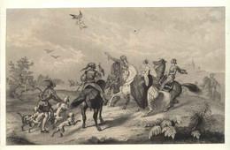 "United Kingdom ~1851 Stahlstich "" Falkenjagd Hawk Hunting "" ~20x12 Cm  Gravure Engraving Incisione Grabado - Prenten & Gravure"