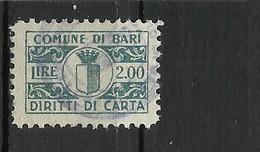BARI 2 LIRE  DIRITTI CARTA ,MARCA DA BOLLO COMUNALE, REVENUE, MUNICIPAL STAMP, Rif.95 - Otros