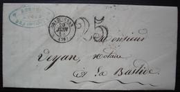 Draguignan 1854, Lettre Taxée 25 De Me Reboul Avoué Pour La Bastide (Var) - 1849-1876: Classic Period