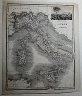 Incisione Su Acciaio Pianta D'Italia E Veduta Vesuvio E Pompei Seconda Metà '800 (P460) Come Da Foto Veduta Del Vesuvio - Prenten & Gravure