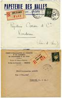 LOIRET ENV ORLEANS LETTRE RECOMMANDEE X 2 // 4F50 PETAIN TYPO 1943 // 4F50 PETAIN GRAVE 1942 - 1921-1960: Modern Period