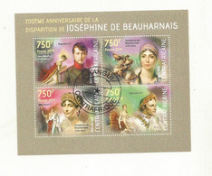 BLOC FEUILLET REPUBLIQUE CENTRAFRICAINE THEME JOSEPHINE DE BEAUHARNAIS. - Beroemde Vrouwen