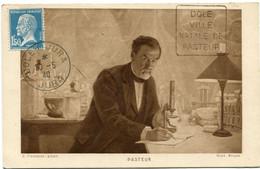 """FRANCE CARTE POSTALE -PASTEUR AVEC OBLITERATION DOLE DU JURA 30-5-40 JURA """" DOLE VILLE NATALE DE PASTEUR """" - Louis Pasteur"""