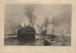 """Waterkant Nordsee ~1851 Stahlstich """" Ein Seegefecht """" ~17x10 Cm Hildburghausen Gravure Engraving Incisione - Prenten & Gravure"""