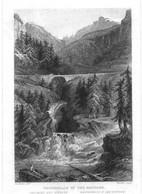 """Schweiz Suisse Rofflen Wallis ~1851 Stahlstich """" Wasserfälle In Rofflen """"~15x10 Cm Gravure Engraving Incisione - Prenten & Gravure"""