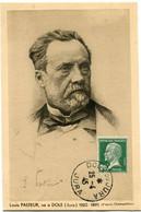 FRANCE CARTE POSTALE -LOUIS PASTEUR NE A DOLE (JURA) 1822-1895 AVEC OBLITERATION DOLE DU JURA 25-4-45 JURA - Louis Pasteur