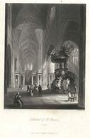 "Belgien Belgie Gent Gand ~1851 Stahlstich "" Cathedral St.Bavon ""~15x11 Cm Gravure Engraving Incisione - Prenten & Gravure"