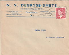OCB 910 Op Firma Envelop Roeselare 1953 - Storia Postale