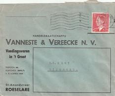 OCB 910 Op Firma Envelop Roeselare 1952 - Storia Postale