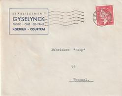 OCB 909 Op Firma Envelop Kortrijk 1953 - Storia Postale