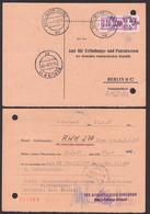 Karl-Marx-Stadt 10 Pfg. ZKD-Streifen 14 (1500) Auf Antwortkarte 14.6.57, Aktenlochung - Service
