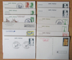 France - 12 Entiers Postaux Divers Neufs Ou Oblitérations Philatéliques / 1er Jour Dont Juvarouen 1976, Coluche, Etc... - Lots Et Collections : Entiers Et PAP