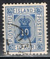 Island Dienst 5B Gestempelt - 10 Aurar 1876, Weite Zähnung 12 3/4 - Dienstzegels