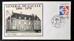 Enveloppe Pour Les 20 Ans Du Décés Du Général De Gaulle - Chateau D'Huppy - Timbre N° 2656 - Cachet Huppy - Gedenkstempel