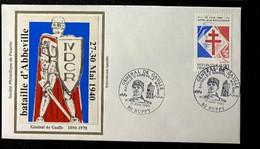 Enveloppe Pour Les 20 Ans Du Décés Du Général De Gaulle - Bataille D'Abbeville - Timbre N° 2656 - Cachet Huppy - Gedenkstempel