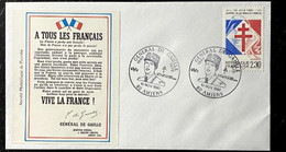 Enveloppe Pour Les 20 Ans Du Décés Du Général De Gaulle - Appel Du 18 Juin 1940 - Timbre N° 2656 - Cachet Amiens - Gedenkstempel