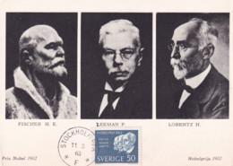Sweden  - Maximum Postcard 1963 - Nobel Prize Winners: Chemistry H.E. Fischer, P. Zeeman And H. Lorentz Physics - Nobelprijs